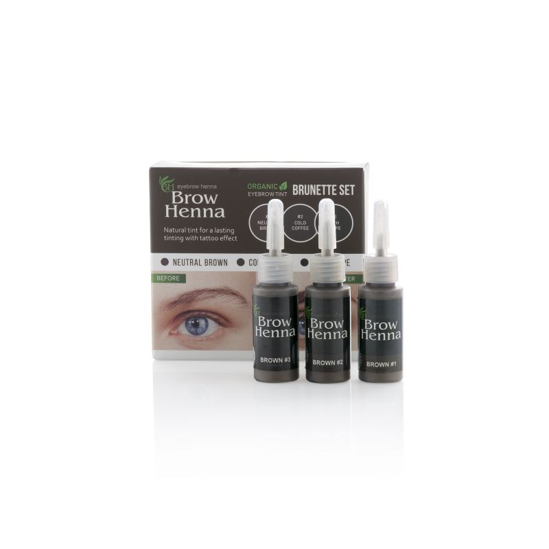 Set bruine henna 3 kleuren - Neutral Brown, Gold Coffee en Rich Taupe